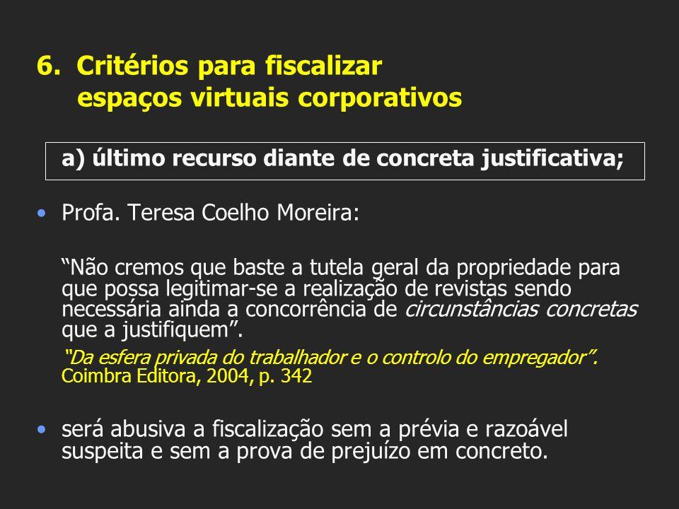 6. Critérios para fiscalizar espaços virtuais corporativos