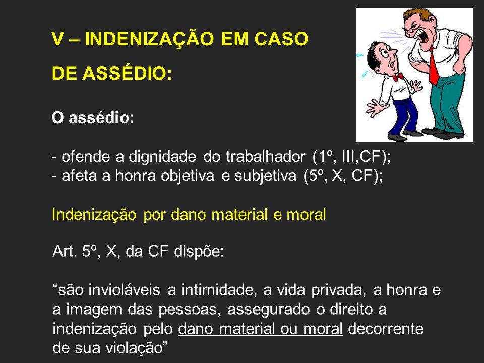 V – INDENIZAÇÃO EM CASO DE ASSÉDIO: O assédio: