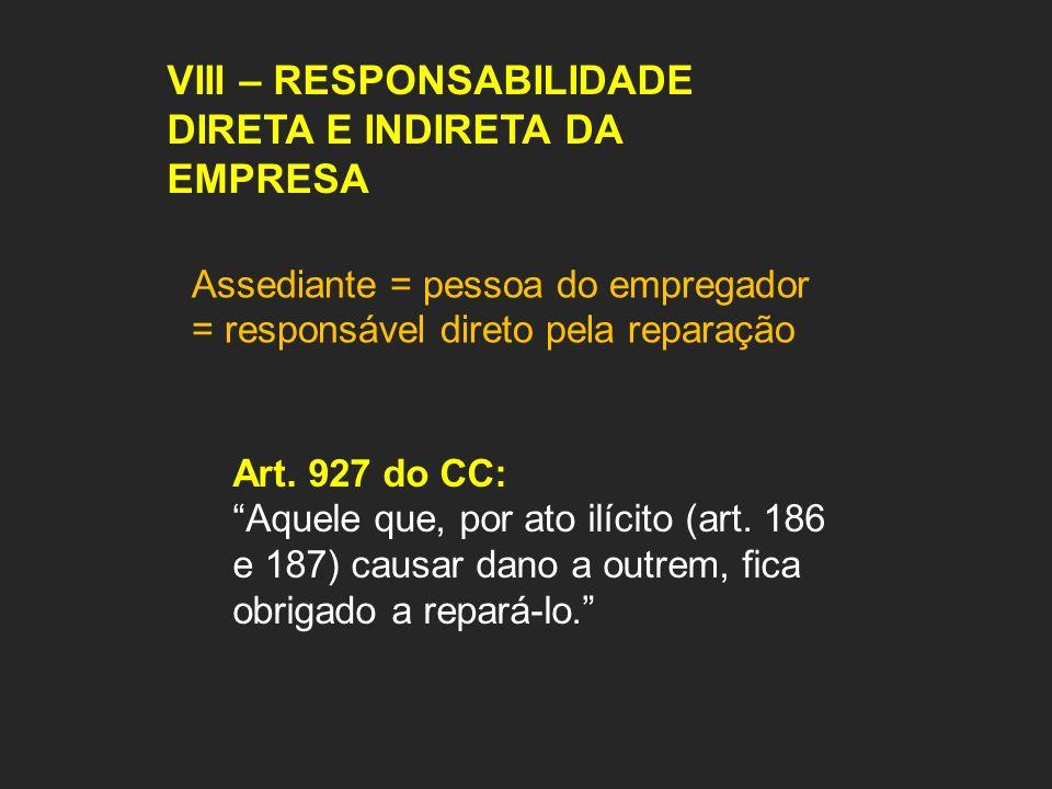 VIII – RESPONSABILIDADE DIRETA E INDIRETA DA EMPRESA