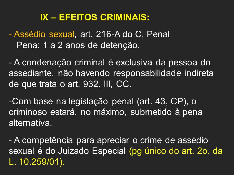 IX – EFEITOS CRIMINAIS: