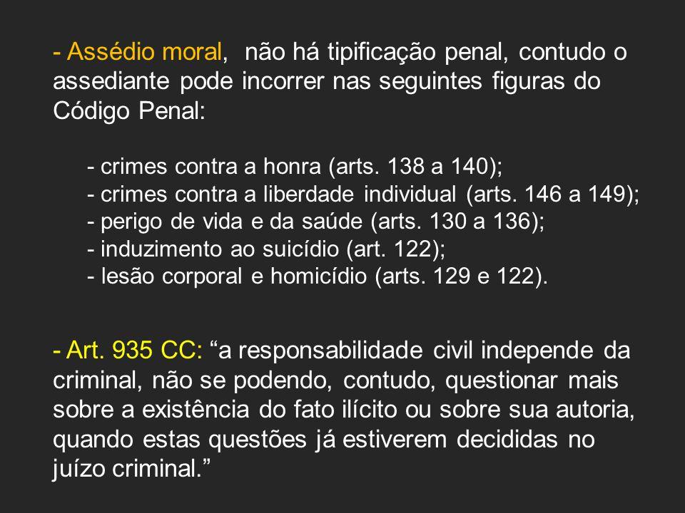 Assédio moral, não há tipificação penal, contudo o assediante pode incorrer nas seguintes figuras do Código Penal: