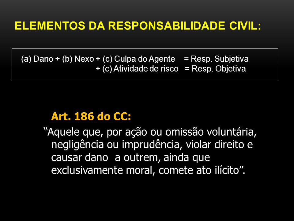 ELEMENTOS DA RESPONSABILIDADE CIVIL: