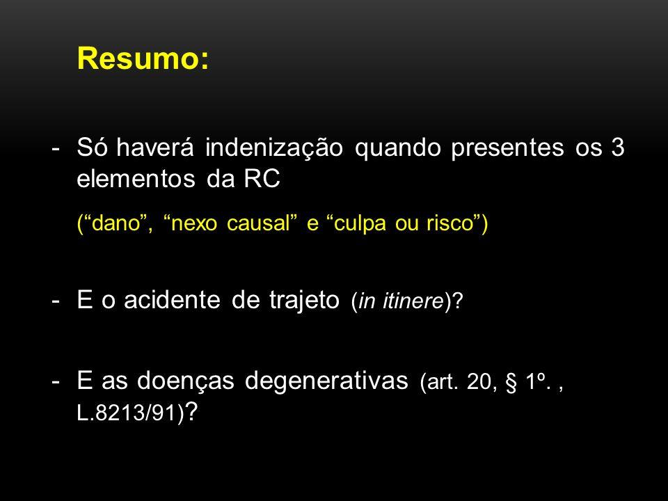 Resumo: Só haverá indenização quando presentes os 3 elementos da RC. ( dano , nexo causal e culpa ou risco )