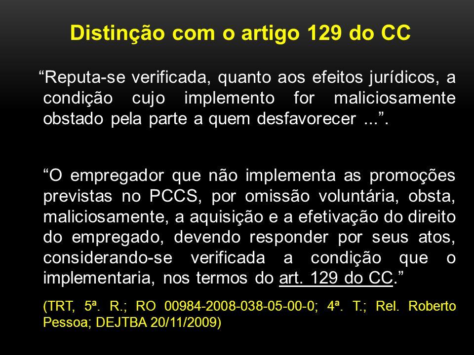 Distinção com o artigo 129 do CC