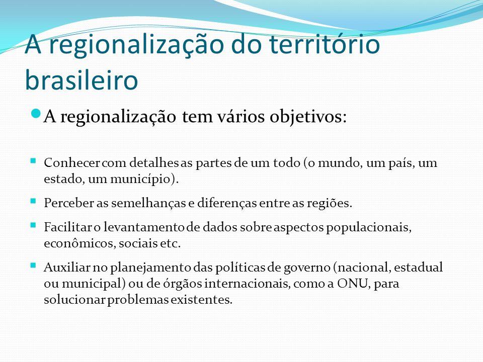 A regionalização do território brasileiro