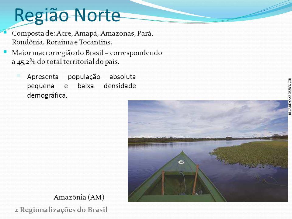 Região Norte Composta de: Acre, Amapá, Amazonas, Pará, Rondônia, Roraima e Tocantins.