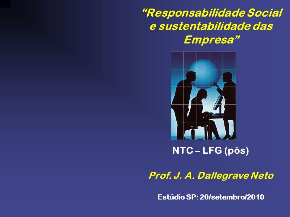 Responsabilidade Social e sustentabilidade das Empresa NTC – LFG (pós) Prof.