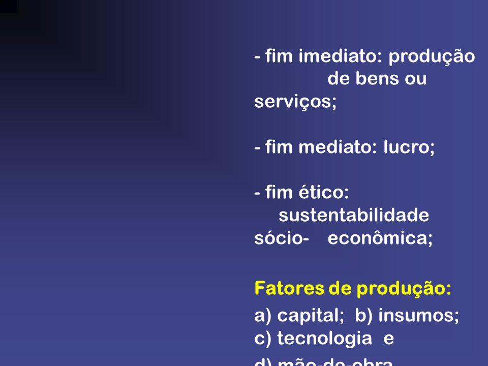 - fim imediato: produção de bens ou serviços;