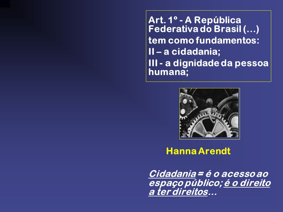 III - a dignidade da pessoa humana;