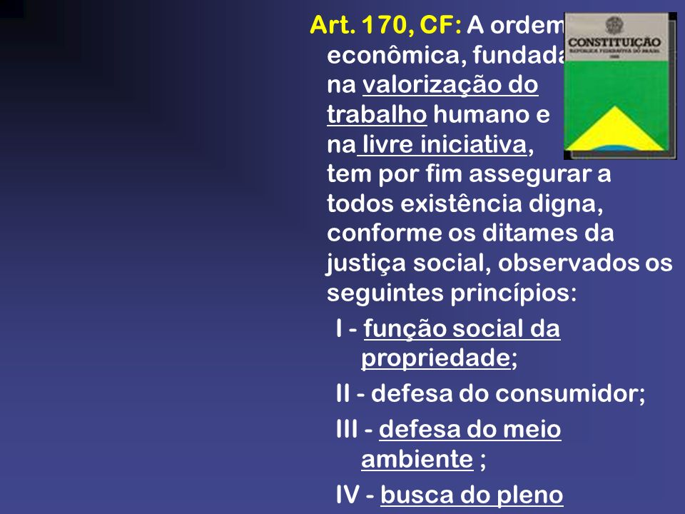 Art. 170, CF: A ordem econômica, fundada