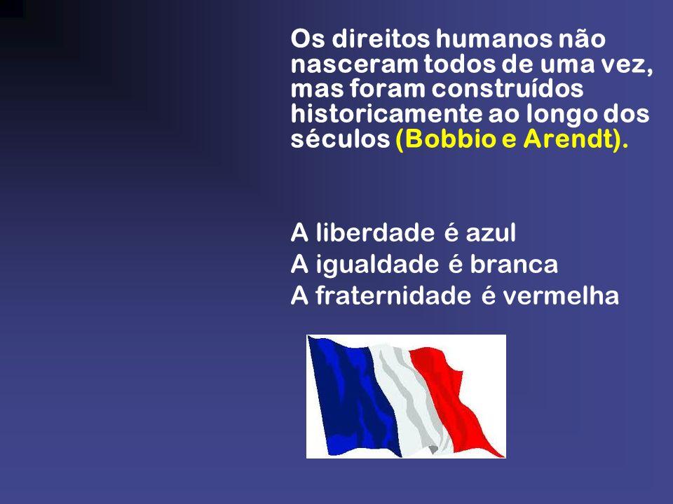 Os direitos humanos não nasceram todos de uma vez, mas foram construídos historicamente ao longo dos séculos (Bobbio e Arendt).