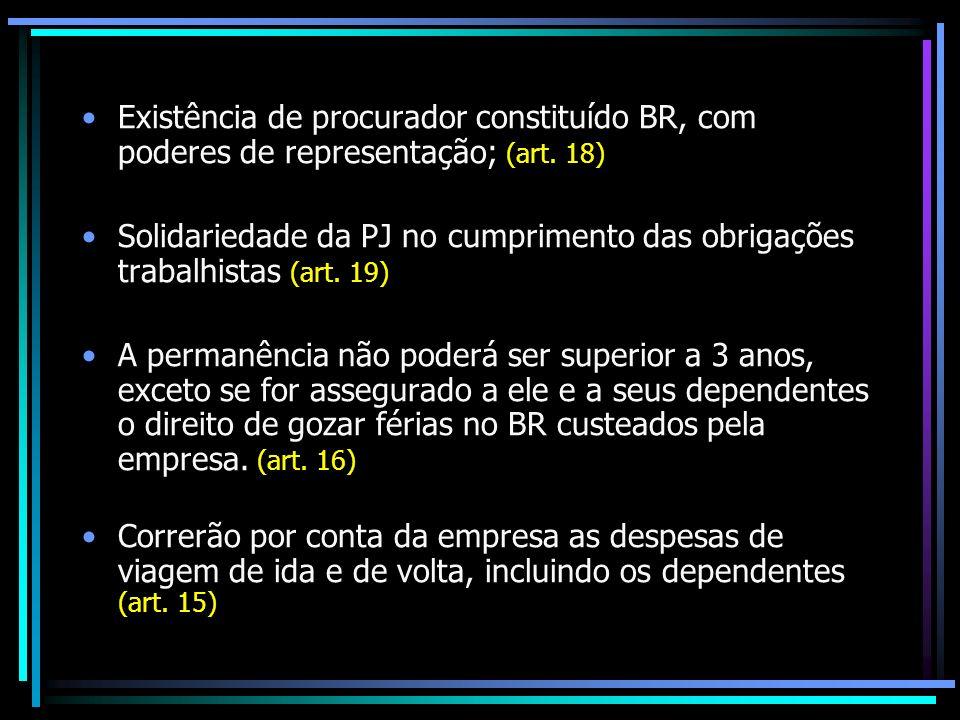 Existência de procurador constituído BR, com poderes de representação; (art. 18)