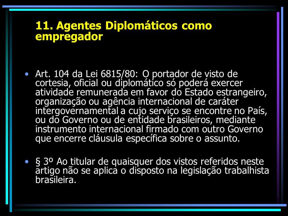 11. Agentes Diplomáticos como empregador