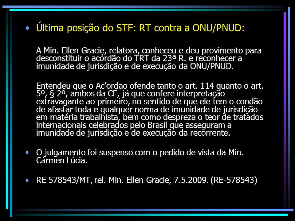 Última posição do STF: RT contra a ONU/PNUD: