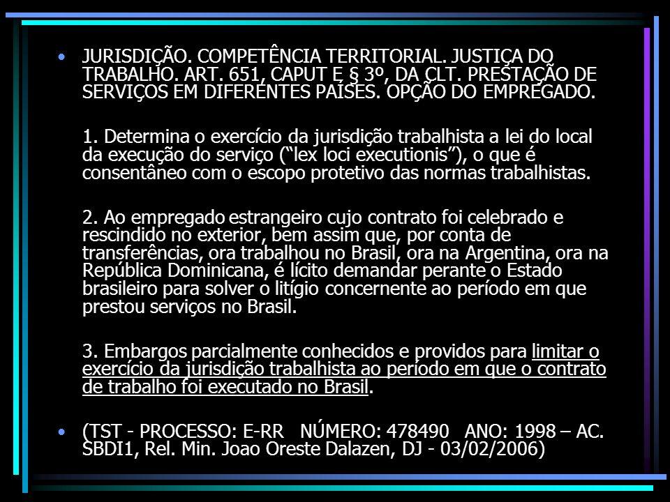 JURISDIÇÃO. COMPETÊNCIA TERRITORIAL. JUSTIÇA DO TRABALHO. ART