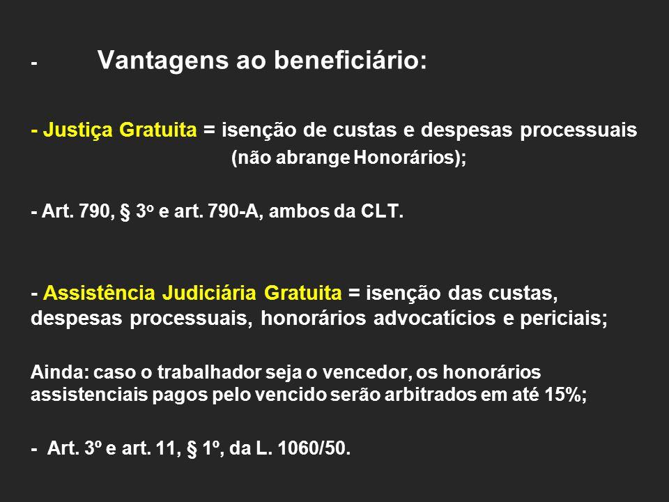 - Justiça Gratuita = isenção de custas e despesas processuais