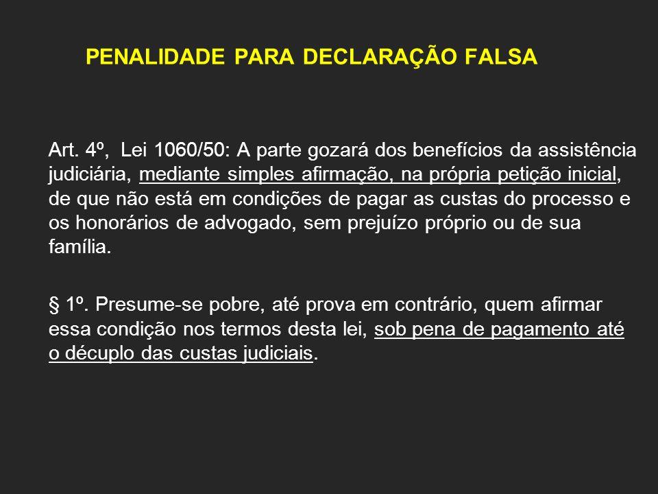 PENALIDADE PARA DECLARAÇÃO FALSA
