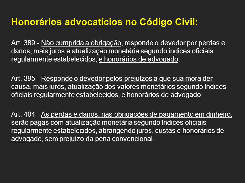 Honorários advocatícios no Código Civil: