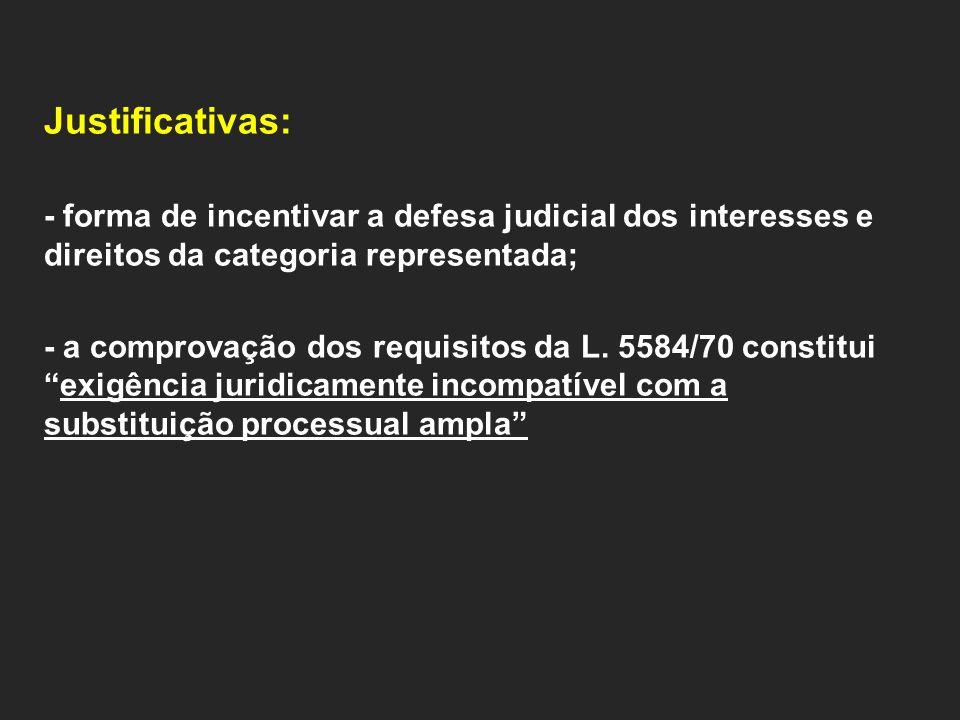 Justificativas: - forma de incentivar a defesa judicial dos interesses e direitos da categoria representada;