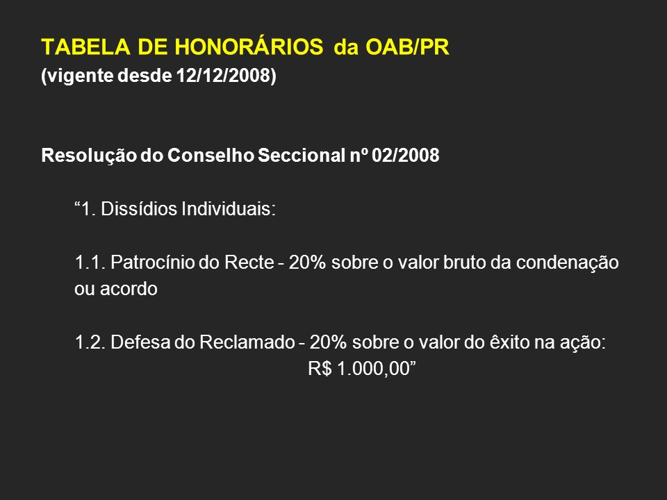 TABELA DE HONORÁRIOS da OAB/PR