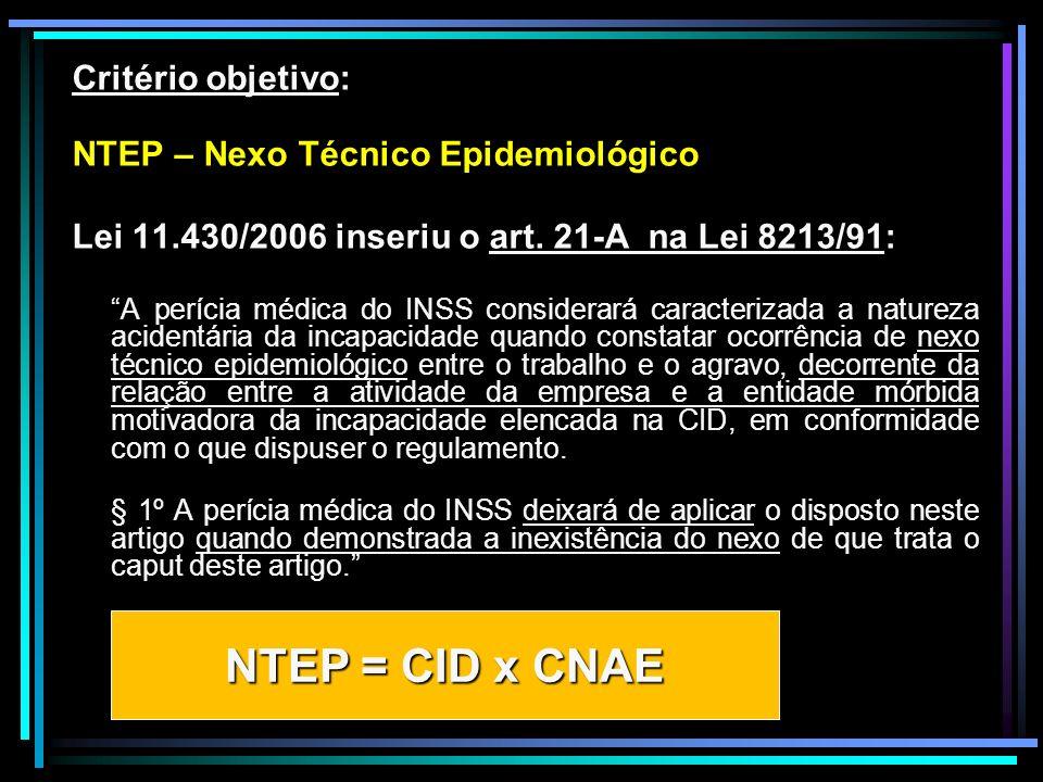 NTEP = CID x CNAE Critério objetivo: