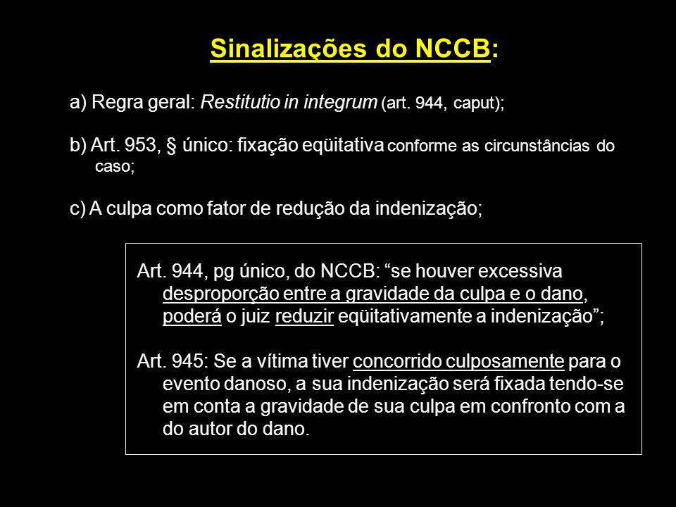 Sinalizações do NCCB:a) Regra geral: Restitutio in integrum (art. 944, caput);