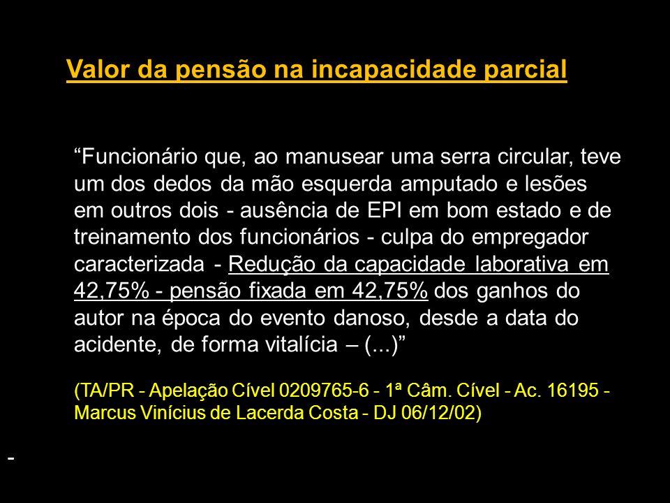 Valor da pensão na incapacidade parcial