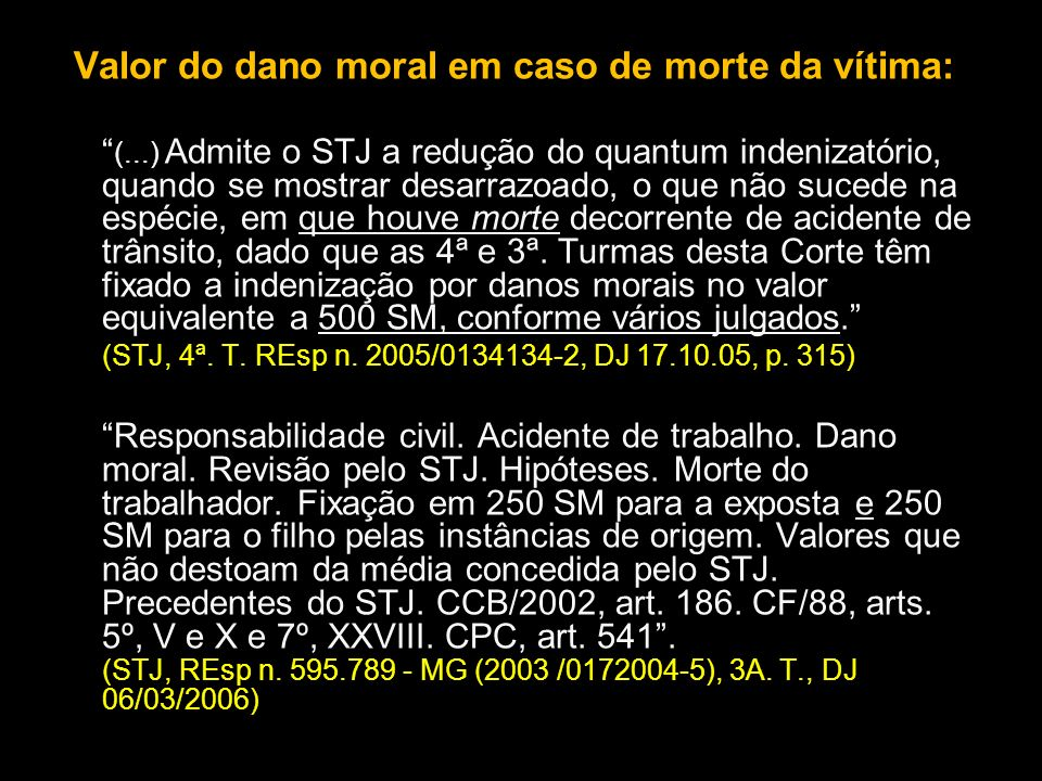 Valor do dano moral em caso de morte da vítima: