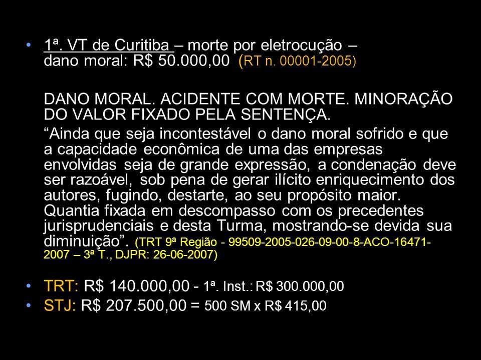 1ª. VT de Curitiba – morte por eletrocução – dano moral: R$ 50