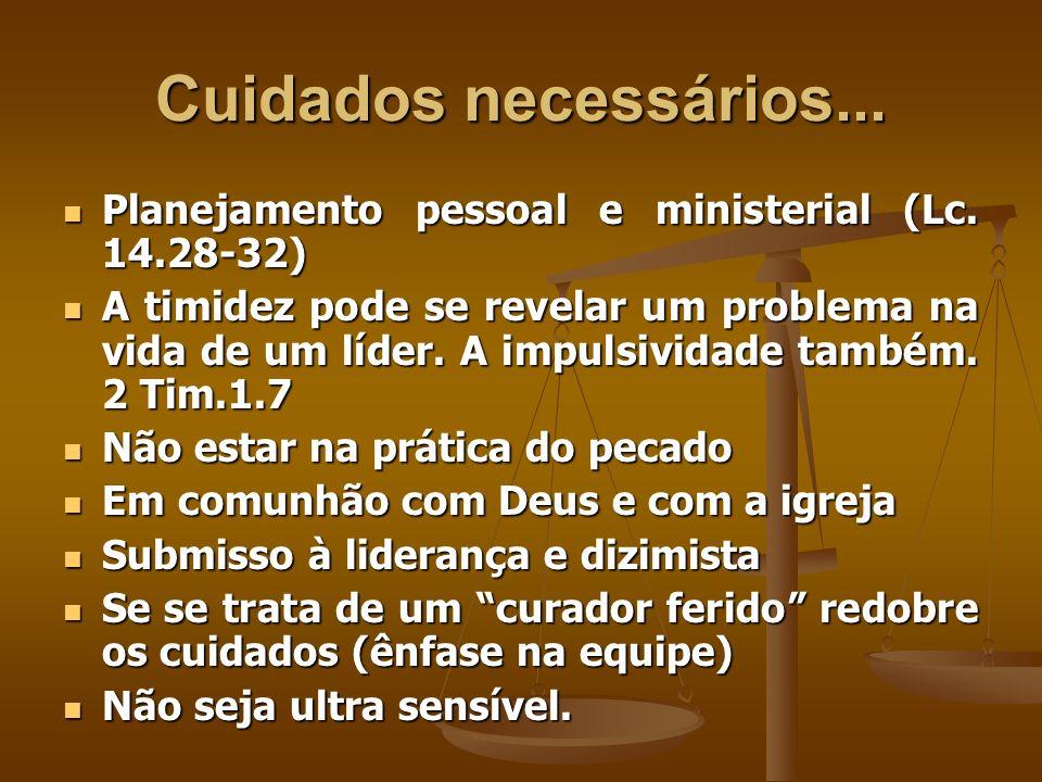 Cuidados necessários...Planejamento pessoal e ministerial (Lc. 14.28-32)