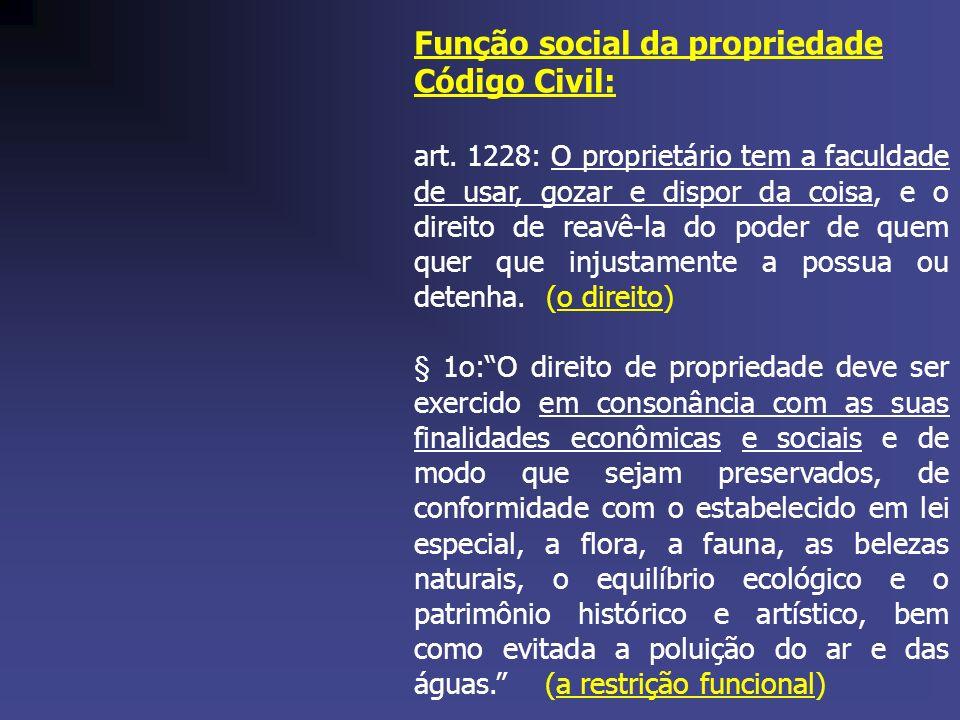 Função social da propriedade Código Civil: