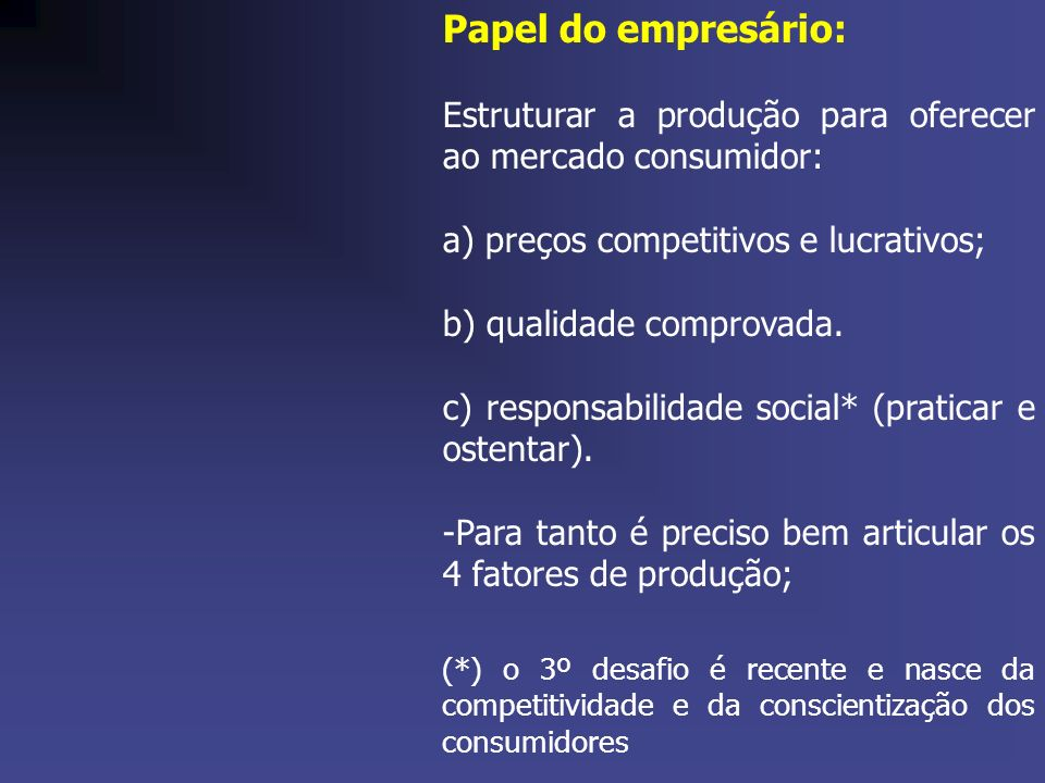 Papel do empresário: Estruturar a produção para oferecer ao mercado consumidor: a) preços competitivos e lucrativos;