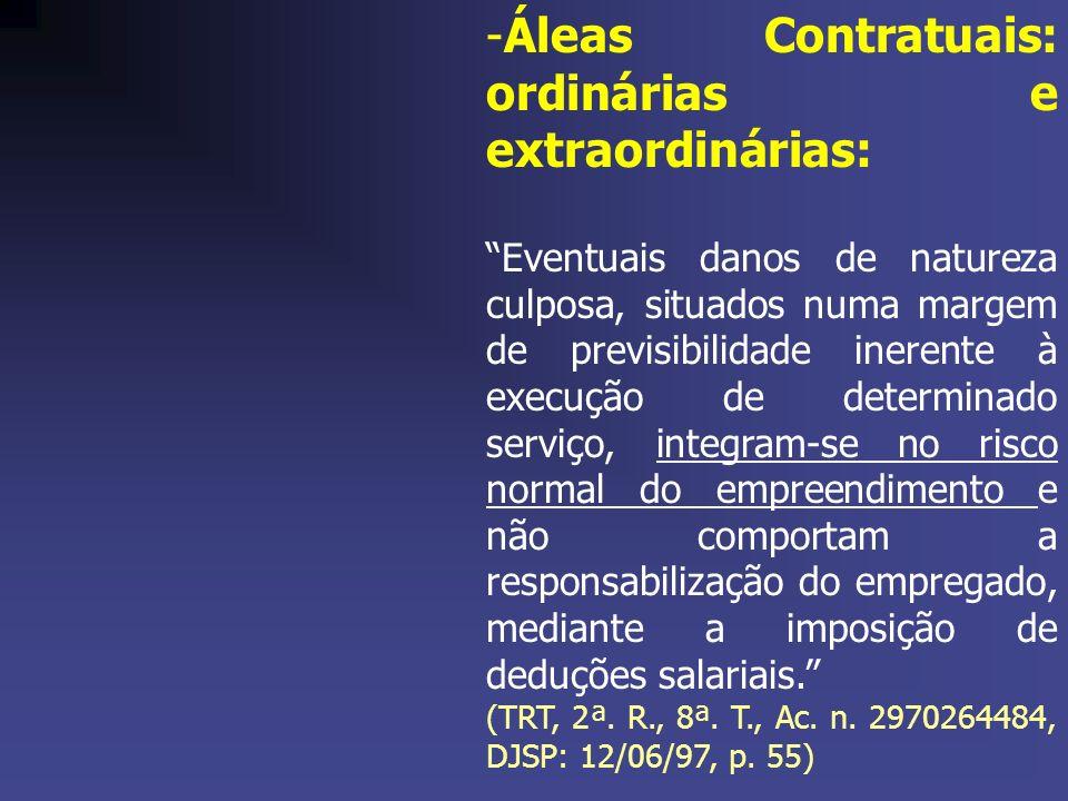 Áleas Contratuais: ordinárias e extraordinárias: