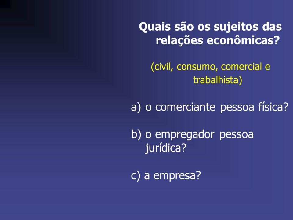 Quais são os sujeitos das relações econômicas