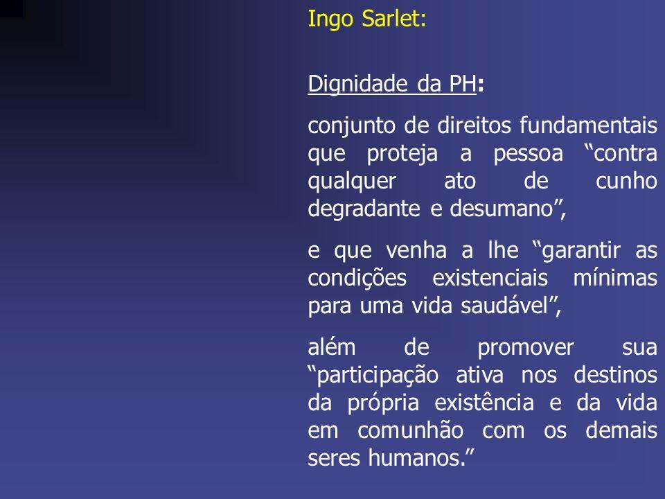 Ingo Sarlet: Dignidade da PH: conjunto de direitos fundamentais que proteja a pessoa contra qualquer ato de cunho degradante e desumano ,