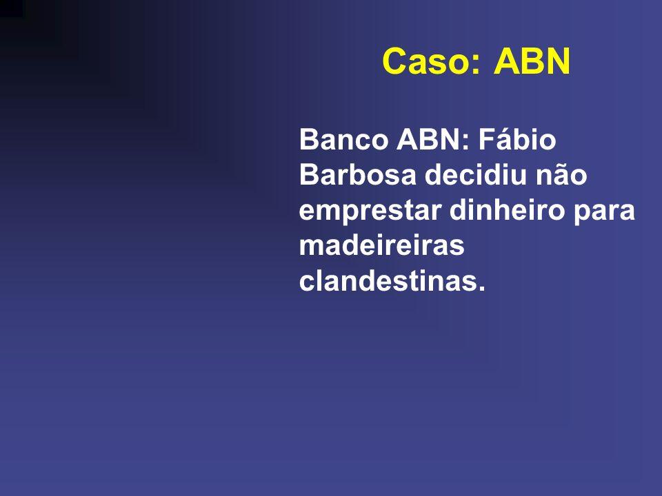 Caso: ABN Banco ABN: Fábio Barbosa decidiu não emprestar dinheiro para madeireiras clandestinas.