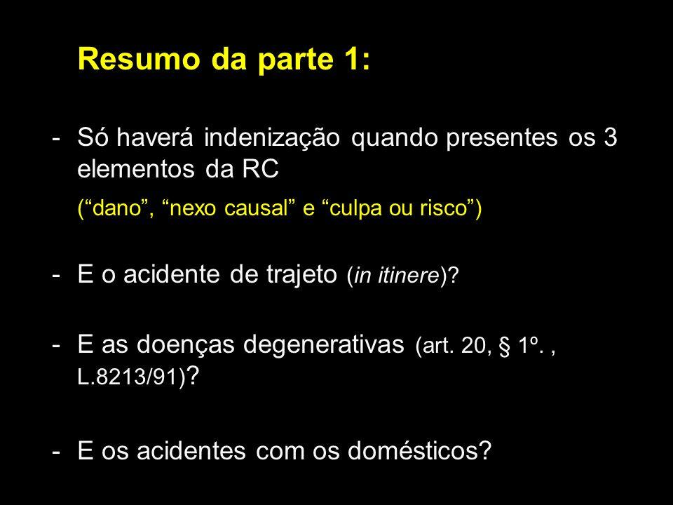 Resumo da parte 1: Só haverá indenização quando presentes os 3 elementos da RC. ( dano , nexo causal e culpa ou risco )