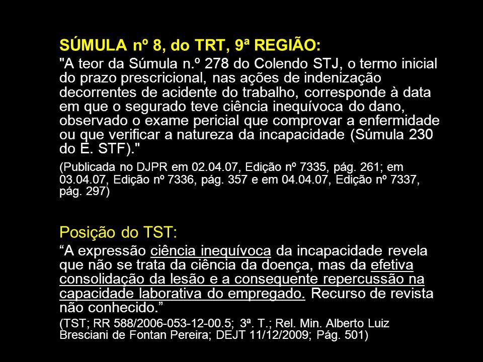 SÚMULA nº 8, do TRT, 9ª REGIÃO: