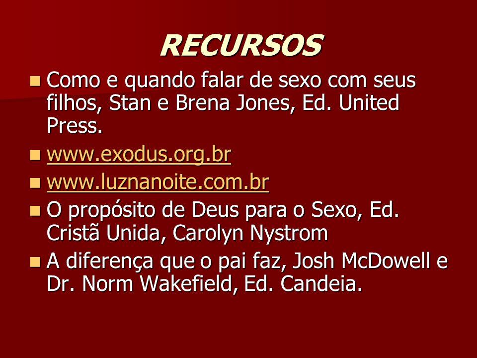 RECURSOSComo e quando falar de sexo com seus filhos, Stan e Brena Jones, Ed. United Press. www.exodus.org.br.