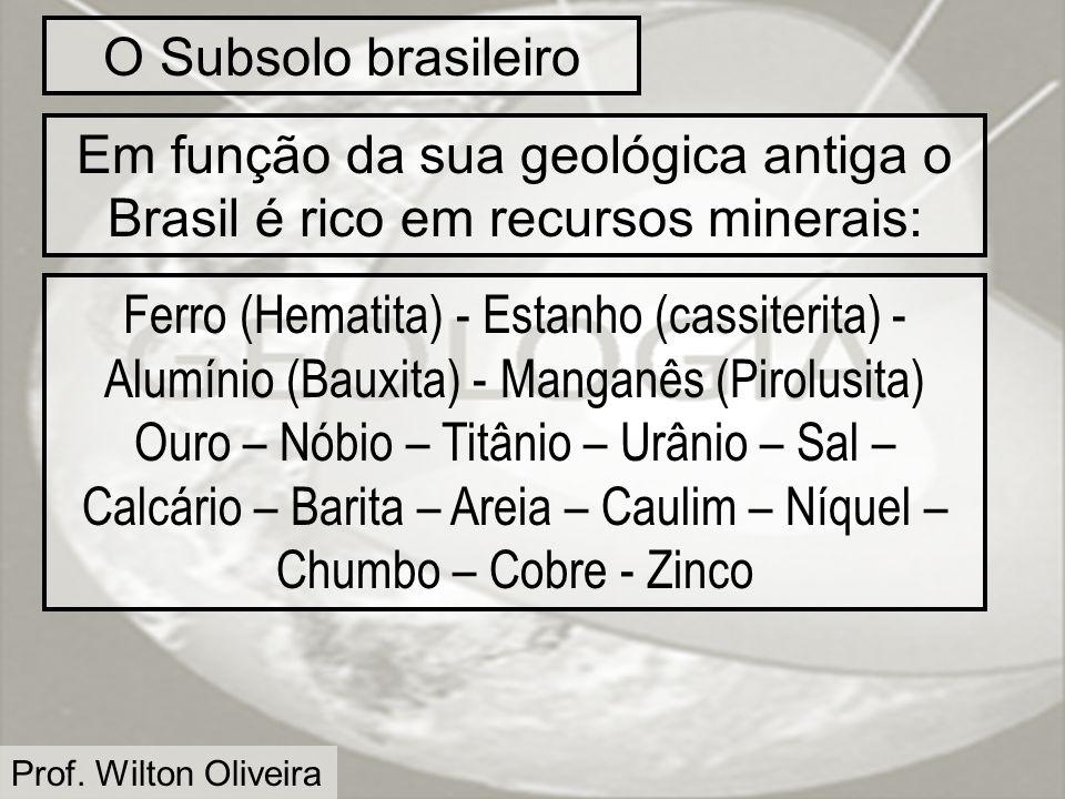 O Subsolo brasileiro Em função da sua geológica antiga o Brasil é rico em recursos minerais: