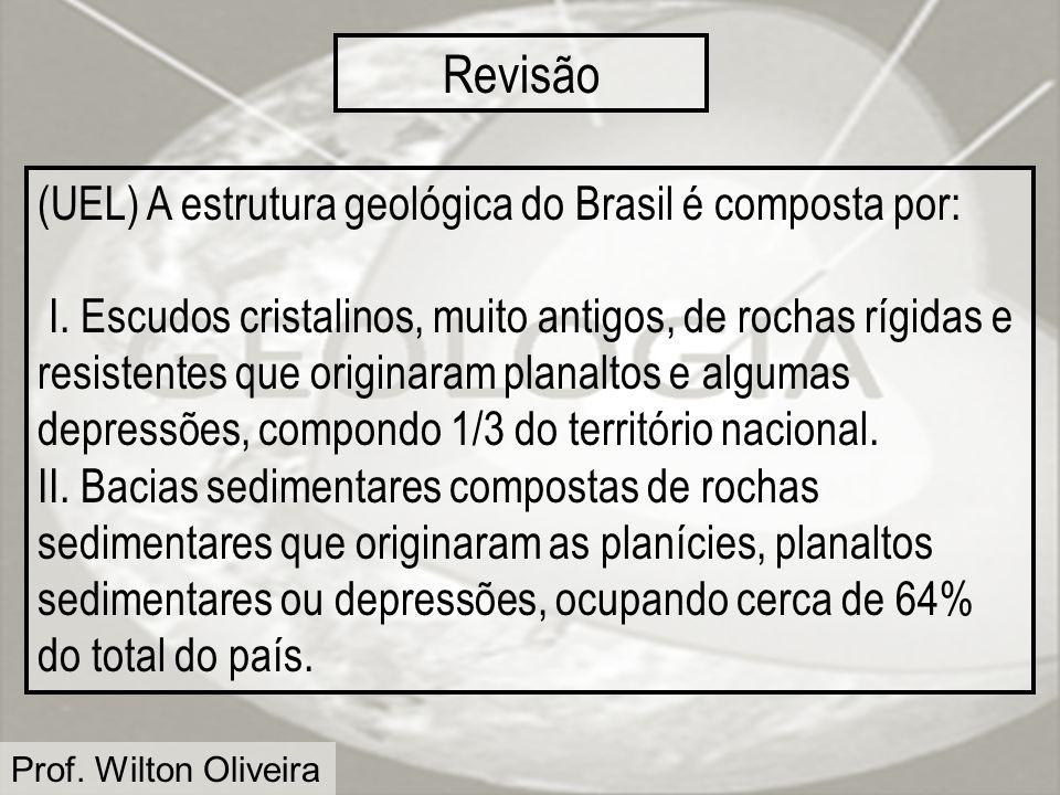 Revisão (UEL) A estrutura geológica do Brasil é composta por: