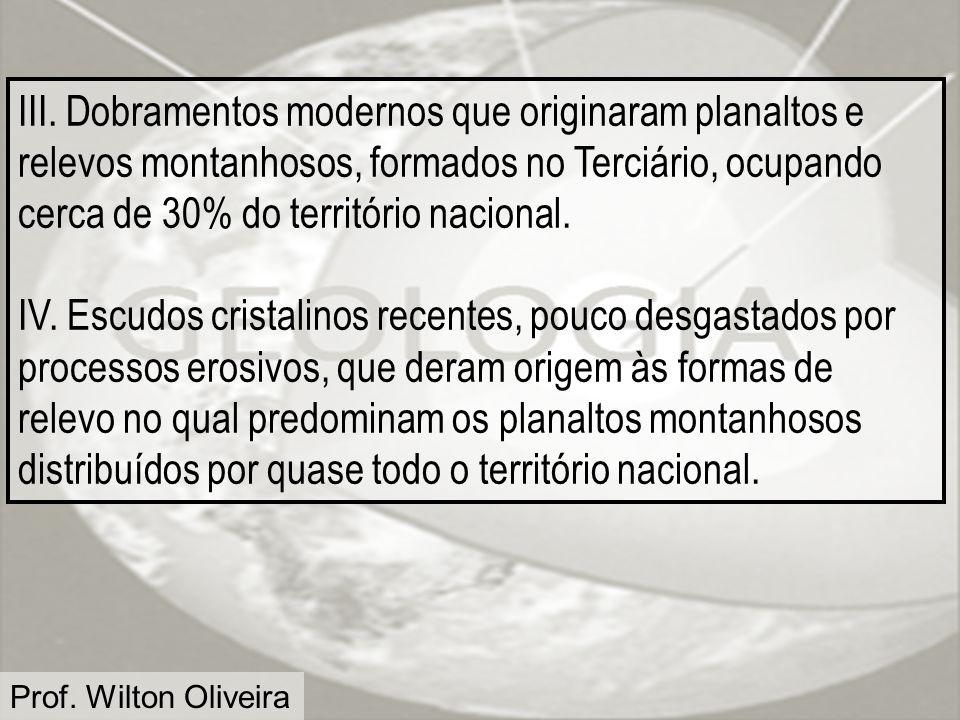 III. Dobramentos modernos que originaram planaltos e relevos montanhosos, formados no Terciário, ocupando cerca de 30% do território nacional.