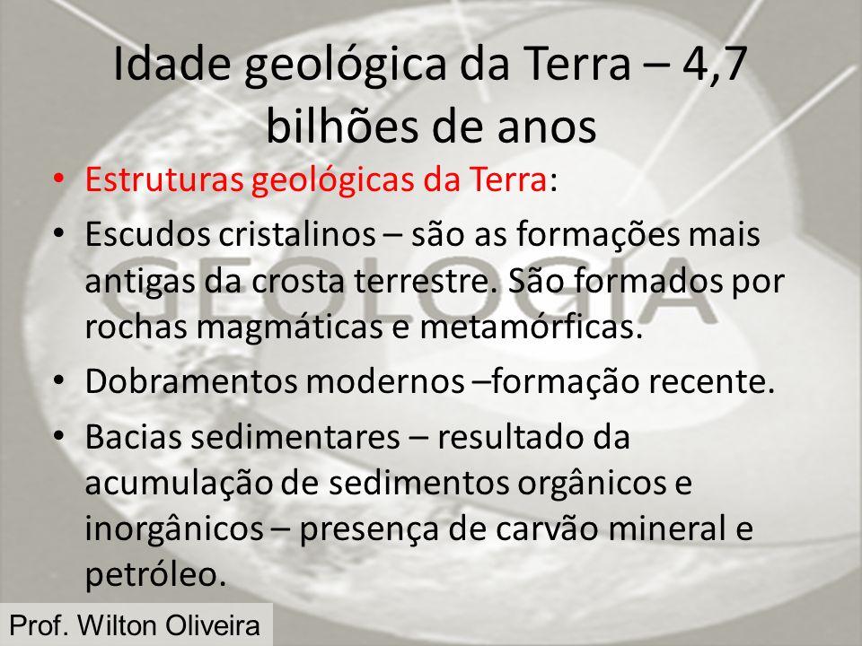 Idade geológica da Terra – 4,7 bilhões de anos