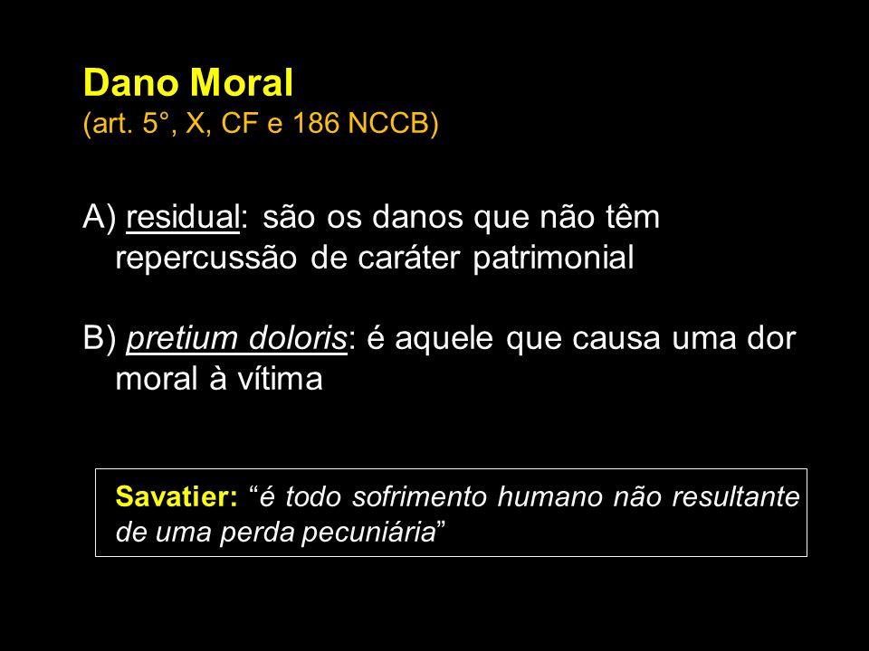 Dano Moral (art. 5°, X, CF e 186 NCCB) A) residual: são os danos que não têm repercussão de caráter patrimonial.