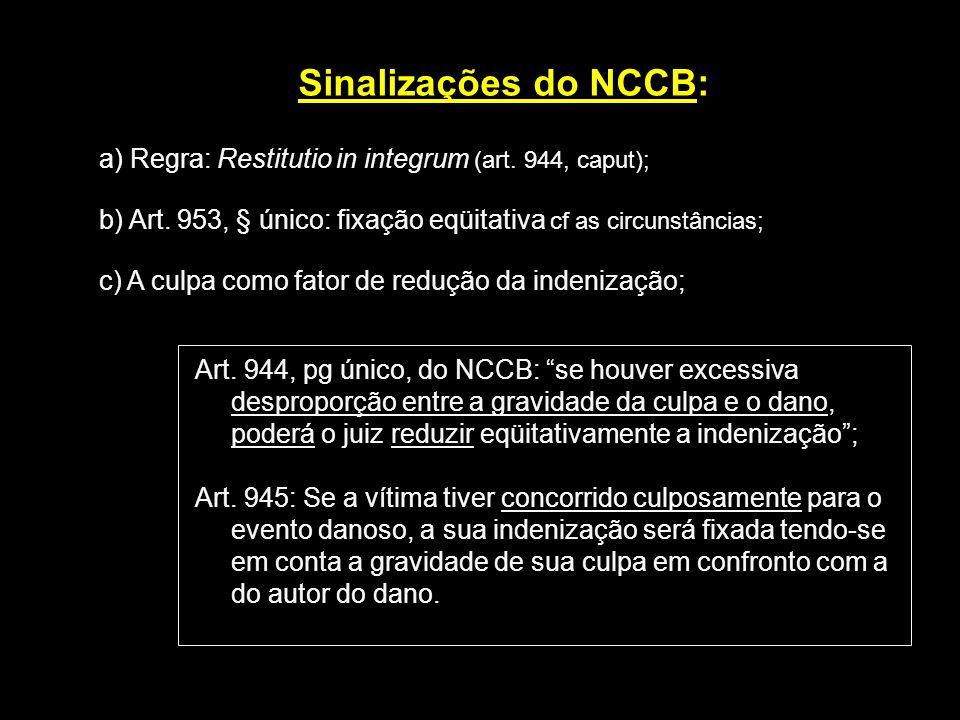Sinalizações do NCCB: a) Regra: Restitutio in integrum (art. 944, caput); b) Art. 953, § único: fixação eqüitativa cf as circunstâncias;