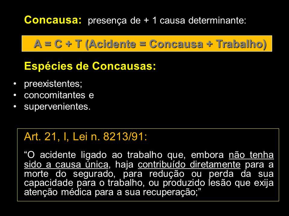 Concausa: presença de + 1 causa determinante: