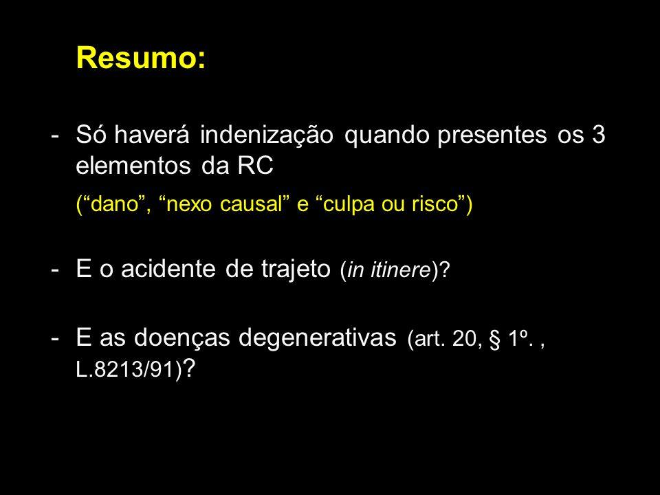 Resumo:Só haverá indenização quando presentes os 3 elementos da RC. ( dano , nexo causal e culpa ou risco )