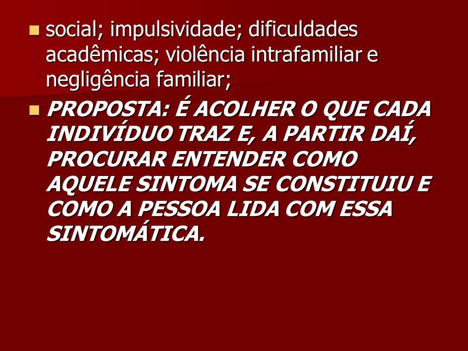 social; impulsividade; dificuldades acadêmicas; violência intrafamiliar e negligência familiar;