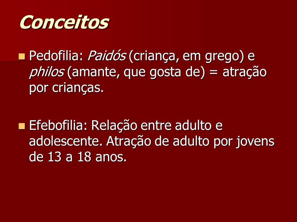 Conceitos Pedofilia: Paidós (criança, em grego) e philos (amante, que gosta de) = atração por crianças.