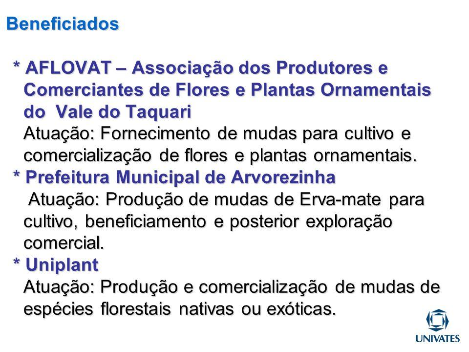 Beneficiados * AFLOVAT – Associação dos Produtores e Comerciantes de Flores e Plantas Ornamentais do Vale do Taquari Atuação: Fornecimento de mudas para cultivo e comercialização de flores e plantas ornamentais.